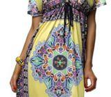 V Neck Floral Print Drawstring Knee Length Dress