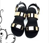 Men Sandals, Double Strap Gold