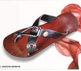 Men Slippers, Double Strap Crossed Slippers, Pure Leather