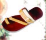Men Slippers, Pure Leather Fur Braced Strap