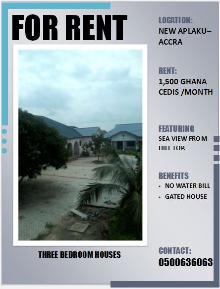 3 BEDROOM HOUSES FOR RENT AT APLAKU - ACCRA