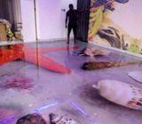 3D Epoxy floor,3D wall mural,3D ceiling,Reflective/metallic floor