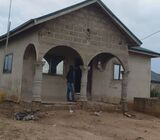 Roofed 3 Bedrooms Uncompleted House For Sale At Kasoa Ofankor