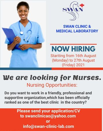 Nurses to hire at Swan Clinic and Medical Laboratory